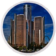 Gm And Marriot Monster In Detroit Round Beach Towel