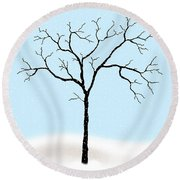 Gnarled In Winter Round Beach Towel