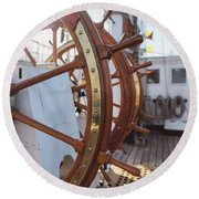 Steering Wheel Of Big Sailing Ship Round Beach Towel