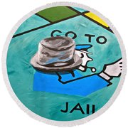 Go To Jail  Round Beach Towel