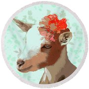 Goat With Flower Round Beach Towel