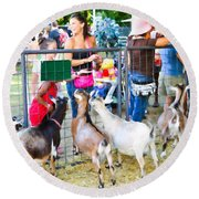 Goats At County Fair Round Beach Towel