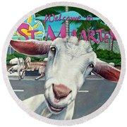 Goats Of St. Maarten- Sofie Round Beach Towel