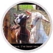 Goats Poster Round Beach Towel