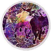 Goats Wildpark Poing Young Animals  Round Beach Towel