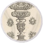 Goblet, Rim Decorated With Masque And Bouquet Of Fruit Round Beach Towel