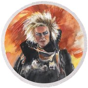 Goblin King At His Best Round Beach Towel
