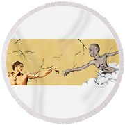 God And Man Round Beach Towel