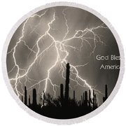God Bless America Bw Lightning Storm In The Usa Desert Round Beach Towel by James BO  Insogna