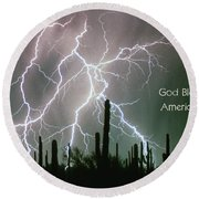God Bless America Color Lightning Storm In The Usa Desert Round Beach Towel