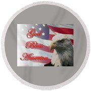 God Bless America Round Beach Towel