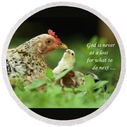 God Is Never At A Loss Round Beach Towel