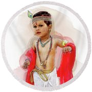 God Krishna Style Watercolor Round Beach Towel