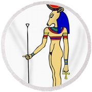 God Of Ancient Egypt - Hathor Round Beach Towel