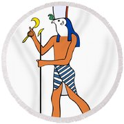 God Of Ancient Egypt - Horus Round Beach Towel by Michal Boubin