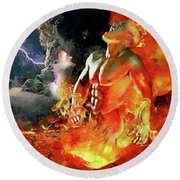 God Of Fire Round Beach Towel