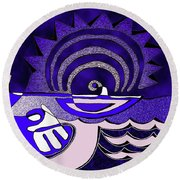 God Smiling On The Water Round Beach Towel