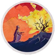 God Speaks To Moses From The Burning Bush Round Beach Towel by Elizabeth Wang