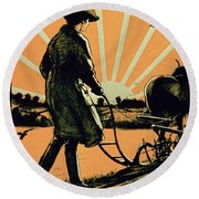God Speed The Plough And The Woman Who Drives It Round Beach Towel