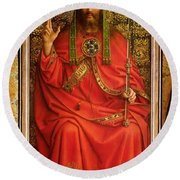 God The Father Round Beach Towel by Hubert and Jan Van Eyck