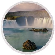 Godafoss In Iceland Round Beach Towel