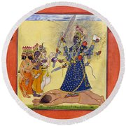 Goddess Bhadrakali Worshipped By The Gods. From A Tantric Devi Series Round Beach Towel