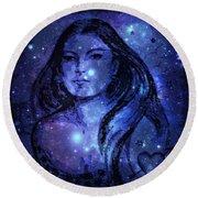 Goddess In Blue Round Beach Towel