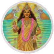 Goddess Lakshmi Round Beach Towel