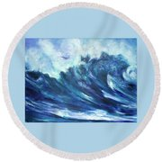 Goddess Of The Waves Round Beach Towel