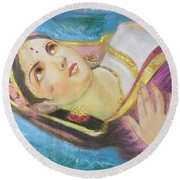 Goddess Radha Round Beach Towel