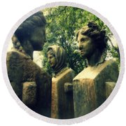 Goddess Statues Round Beach Towel