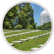 God's Acre In Old Salem Round Beach Towel