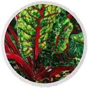 God's Kitchen Series No 7 Swiss Chard Round Beach Towel