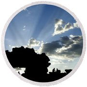 God's Rays At La Fenetre Round Beach Towel
