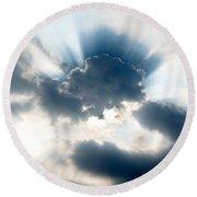 Gods Rays Round Beach Towel