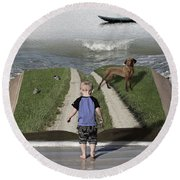 Going Back Home Round Beach Towel