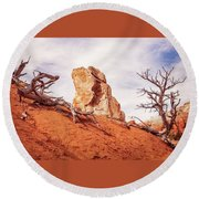 Going Down The Slope At Kodachrome Basin State Park. Round Beach Towel