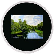 Going Down The St John's River Round Beach Towel