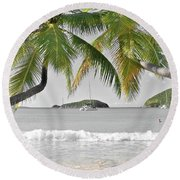 Going Green To Save Paradise Round Beach Towel