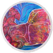 Going Someplace Pretty Round Beach Towel