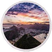 Going Up The Cable Car In Rio De Janeiro Round Beach Towel