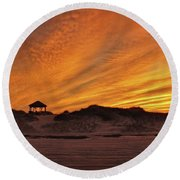 Gold Above Them Thar Dunes Round Beach Towel