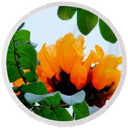Gold African Tulips Round Beach Towel