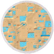 Gold And Aqua Mid-century Modern Round Beach Towel