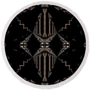 Gold And Black With Silver Design Abstract Round Beach Towel
