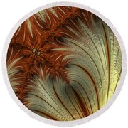 Gold And Burnt Orange Fractal Round Beach Towel