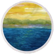 Gold And Pink Sunset  Round Beach Towel