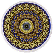 Gold And Sapphires  Round Beach Towel