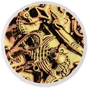 Gold Aquarium Round Beach Towel