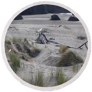 Gold Beach Oregon Beach Grass 18 Round Beach Towel
